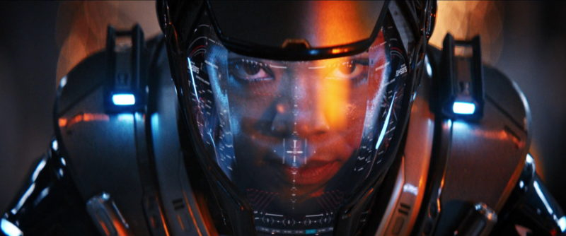 Close-up of Michael Burnham's face wearing time suit helmet