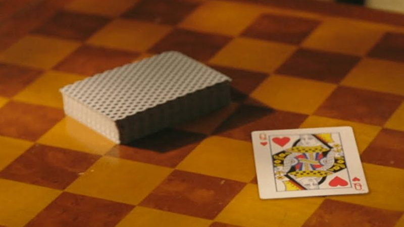 Deck of cards with queen of hearts